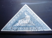 Stamp cape good hope light blue vier pennies triangle 1890 white paper