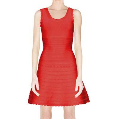 Buy herve leger jules scalloped a-line bandage dress red - hldressbandage